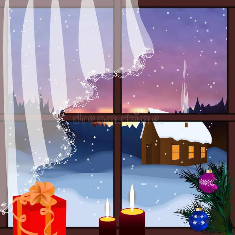 Vector window with view of snowy background. stock illustration