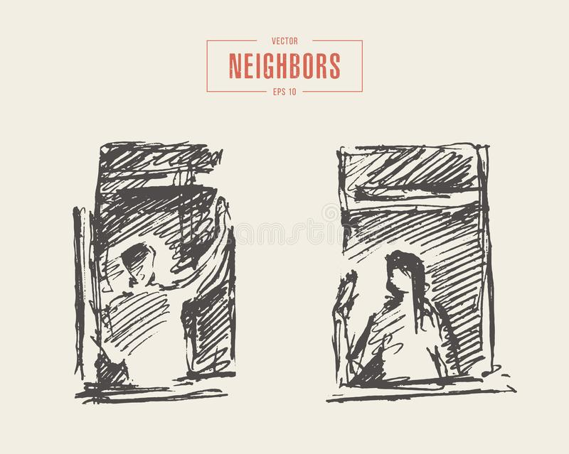 Vector windows of neighbors people greeting sketch. Hand drawn vector illustration of windows of an apartment building with two people, greeting each other royalty free illustration