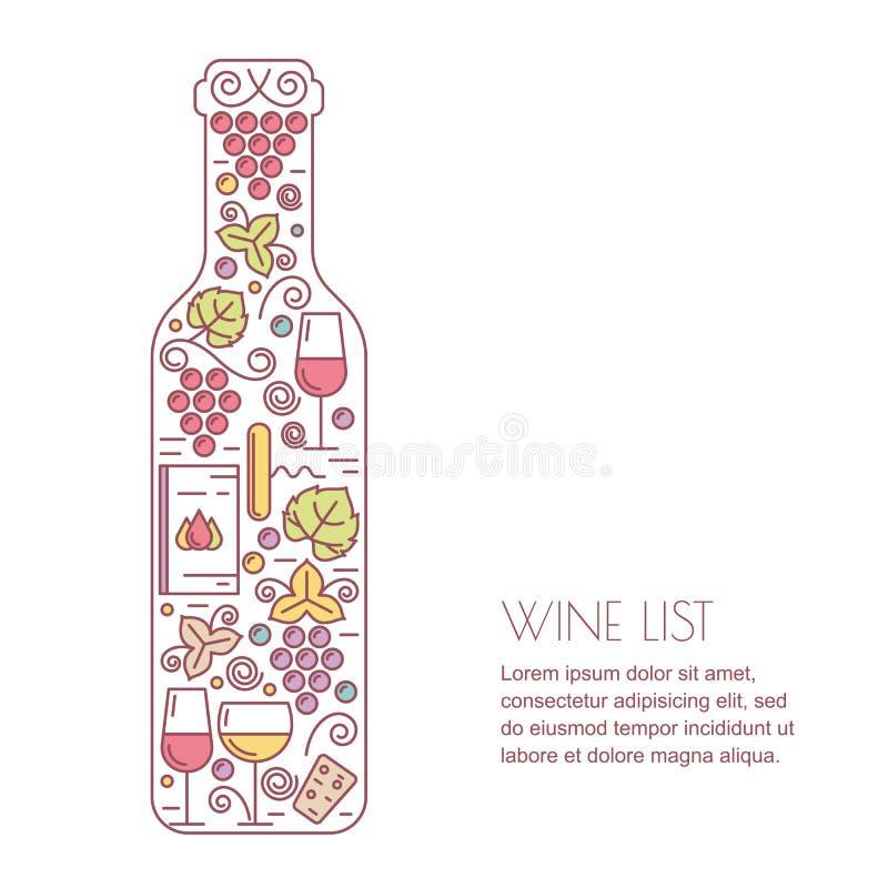 Vector wine background. Line icons set, logo and design elements. Wine bottle, glass, grape vine and leaf illustration. Concept for wine list, bar or vector illustration