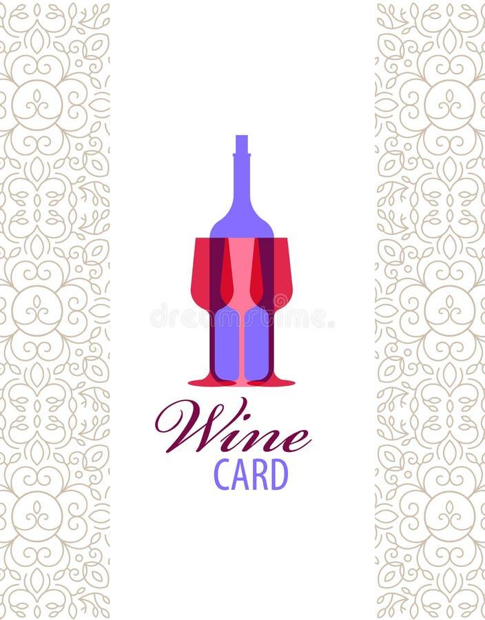Vector wine card icon, logo, menu cover vector illustration