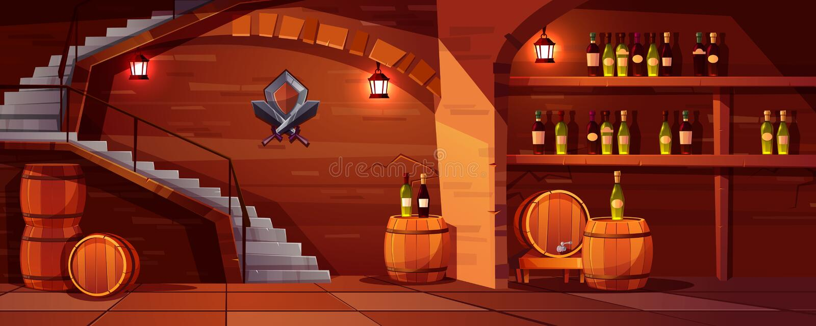 Vector wine cellar with wooden barrels, bottles. Vector wine cellar background, cozy space with wooden barrels, glass bottles. Alcohol, winemaking room with stock illustration