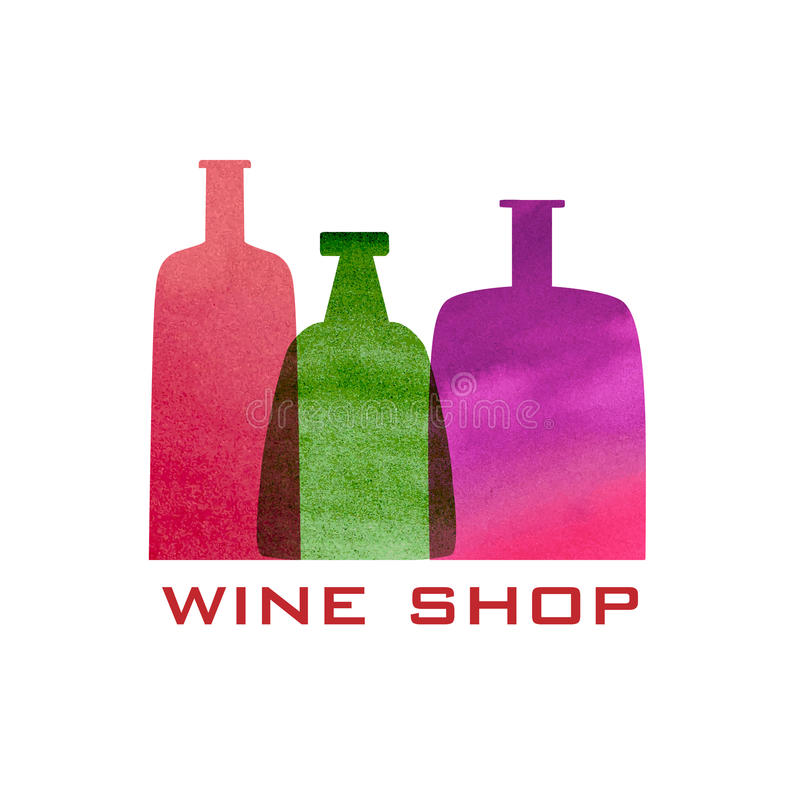 Vector wine icon and logo - watercolor emblem and stock illustration