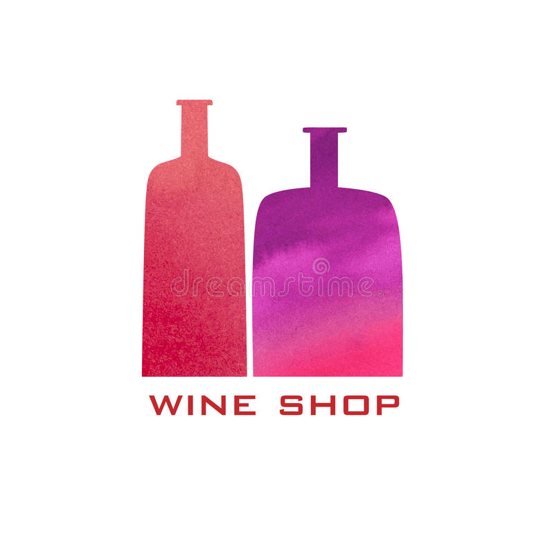 Vector wine icon and logo - watercolor emblem and design element vector illustration