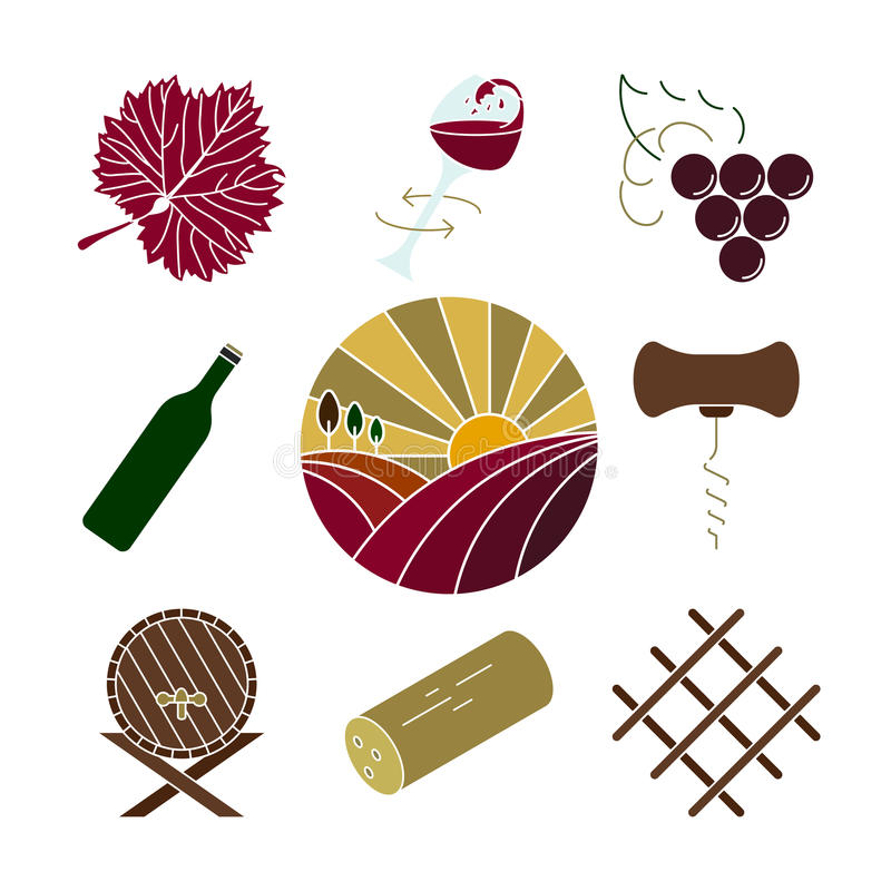 Vector wine icons isolated. Collection of colorful wine icons vector illustration