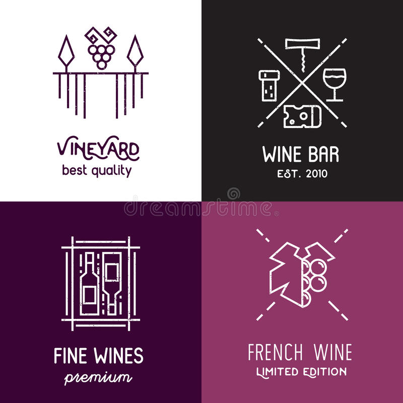 Vector wine line icons and logos. stock illustration