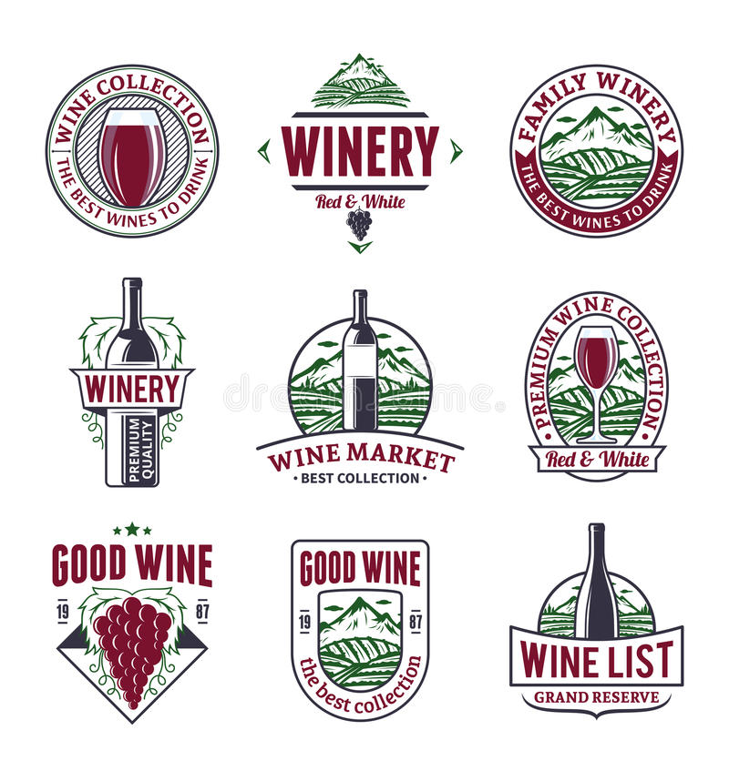 Vector wine logo, icons and design elements vector illustration