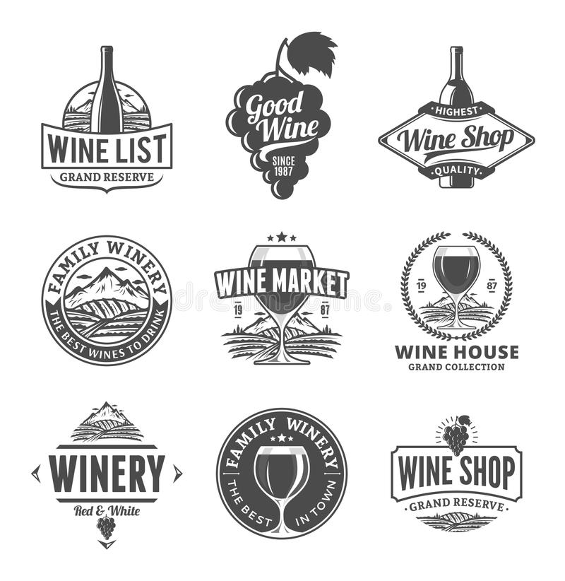 Vector wine logo, icons and design elements stock illustration
