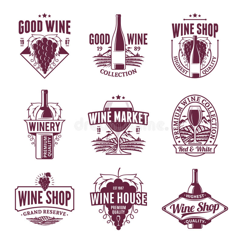 Vector wine logo, icons and design elements. Set of vector ruby wine logo, icons and design elements for menu, package, winery branding and identity stock illustration