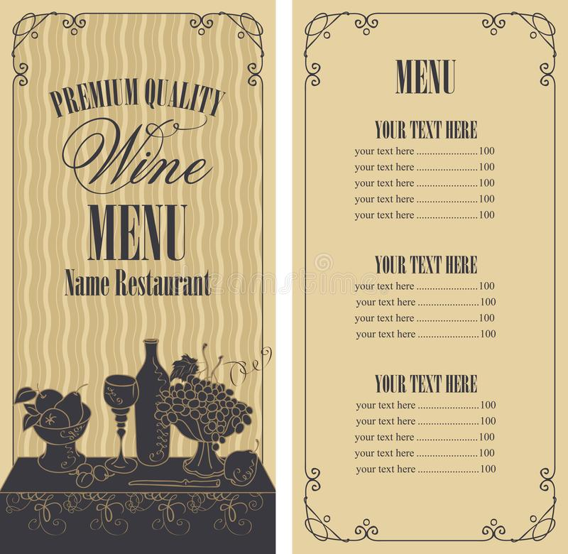 Vector wine menu with price list and still life royalty free illustration