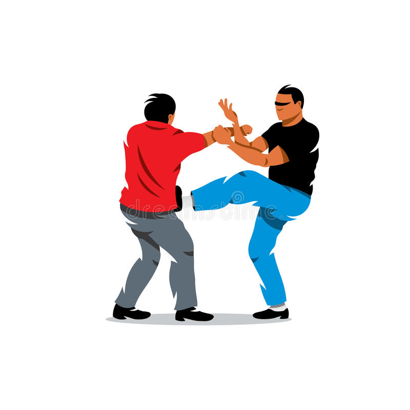 Vector Wing Chun kung fu sparring Cartoon Illustration. royalty free illustration