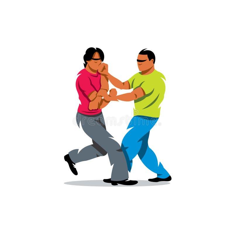 Vector Wing Chun kung fu sparring Cartoon Illustration. vector illustration