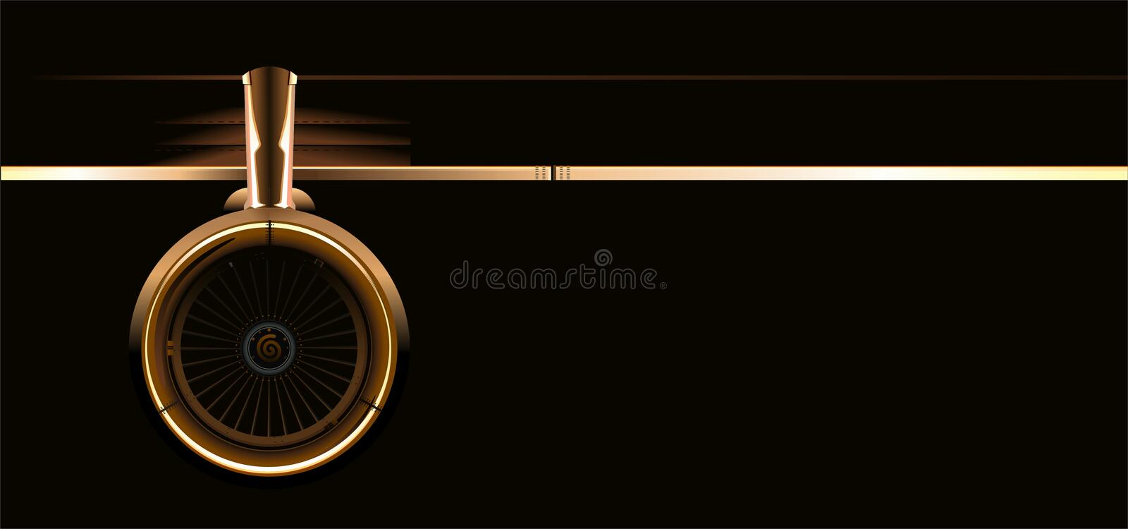 Vector wing with turbine vector illustration