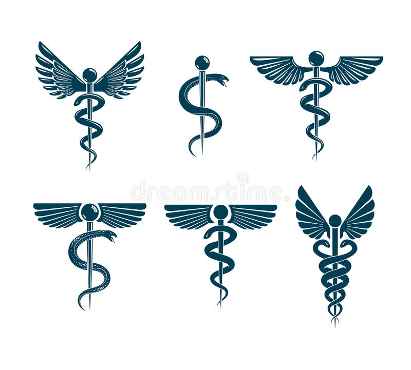 Vector winged Caduceus illustrations collection. Pharmacology. And healthcare idea emblems vector illustration