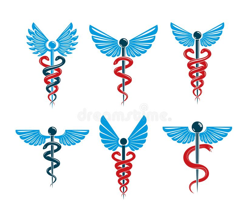 Vector winged Caduceus illustrations collection. Pharmacology an. D healthcare idea emblems stock illustration