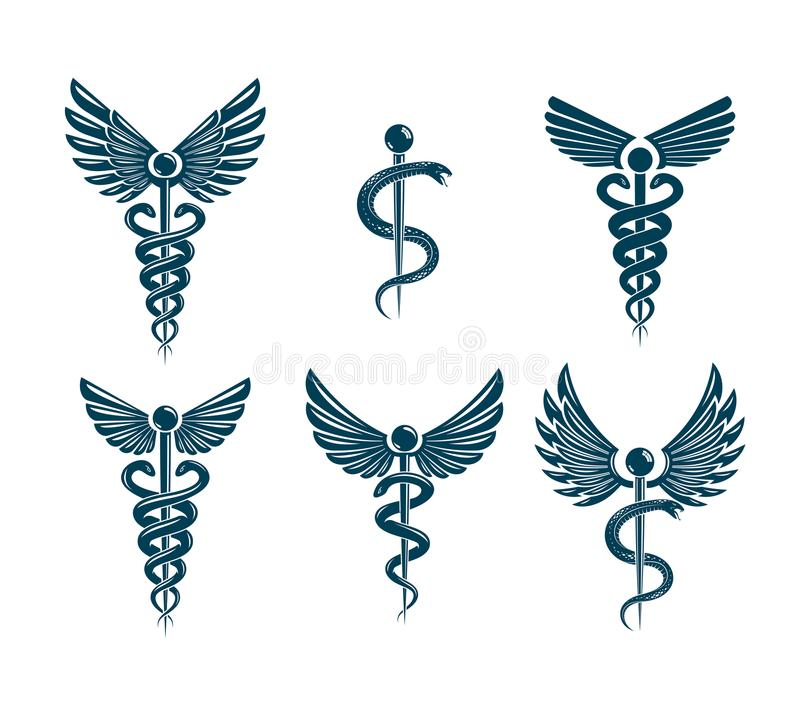Vector winged Caduceus illustrations collection. Pharmacology an. D healthcare idea emblems royalty free illustration