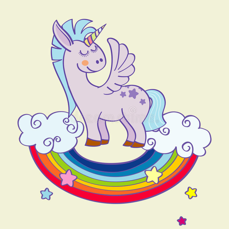 Vector Winged Unicorn Standing On A Rainbow With Clouds Stock Vector