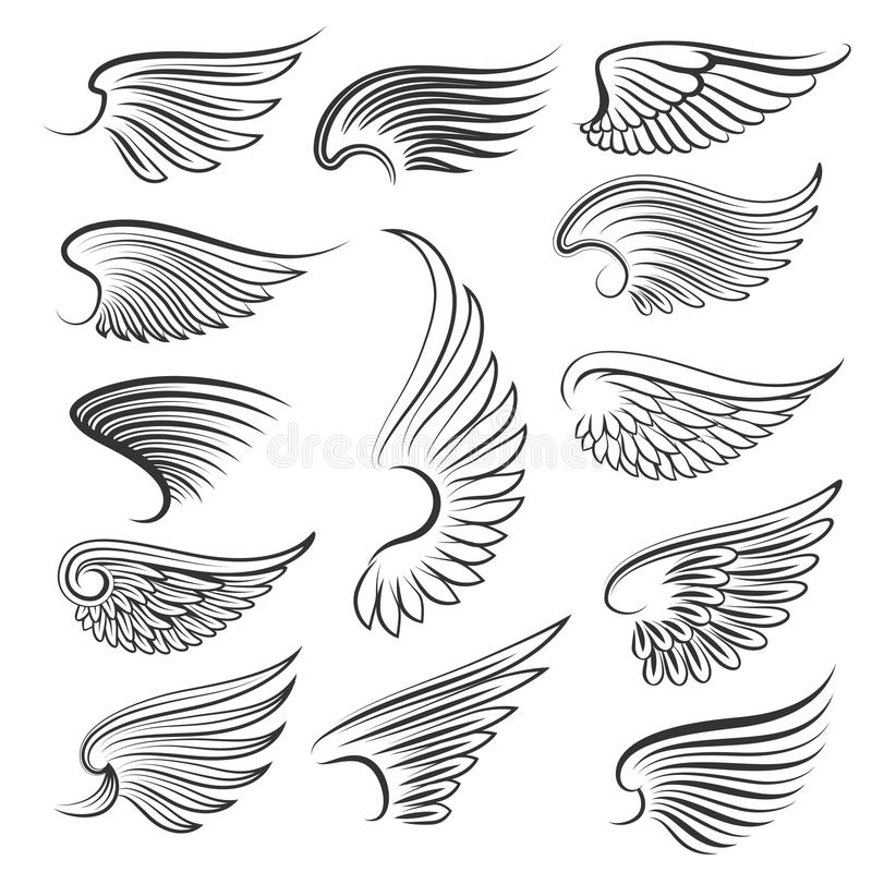 Vector wings isolated on white background. Cartoon tattoo, tribal and vintage heraldic wing set stock illustration