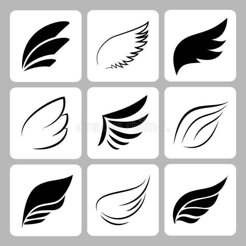 Vector wings set stock illustration