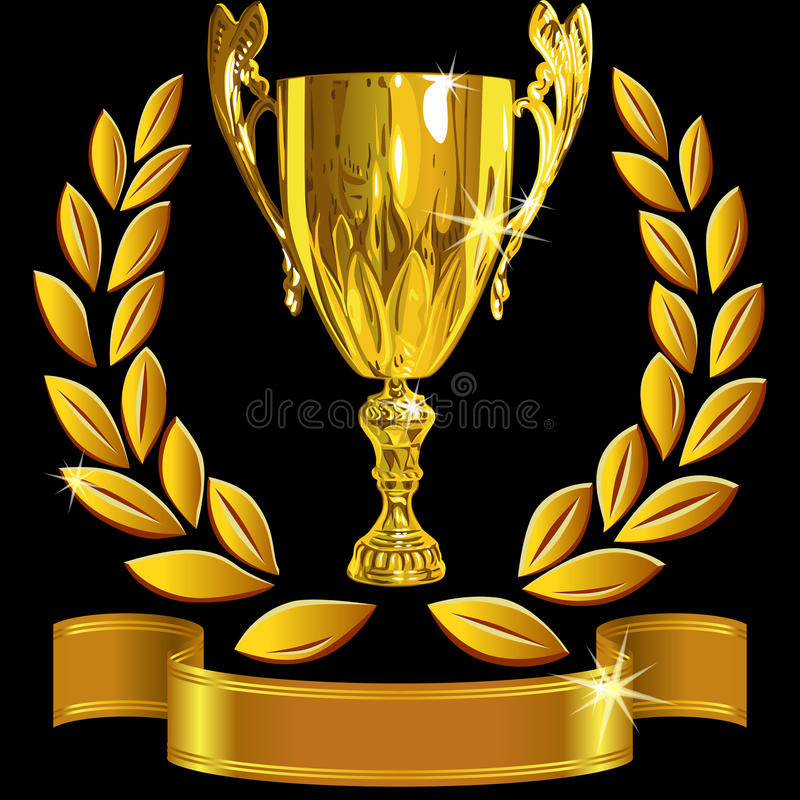 Vector Winning gold cup, laurel wreath and ribbon royalty free illustration