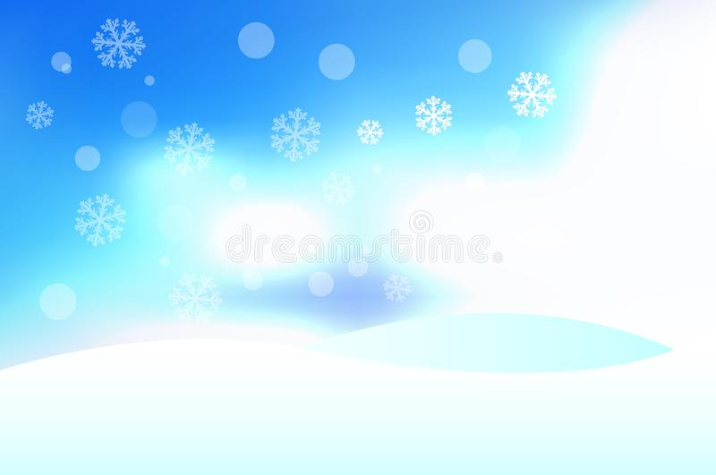 Vector Winter Background with Snowdrifts, Blue Sky and Snowflakes. Merry Christmas and Happy New Year Design Elements vector illustration