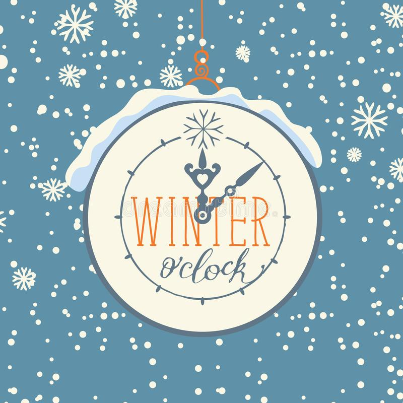 Vector winter banner with clock and snowflakes stock illustration