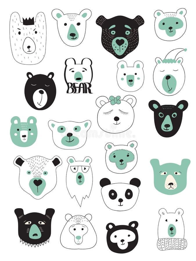 Vector Set of Bears. Vector Winter Bears Set. 21 different bears` heads stock illustration