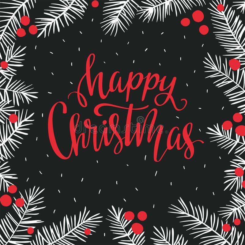 Vector winter card with Christmas branches and lettering- `Happy Christmas`. Holiday background. royalty free illustration