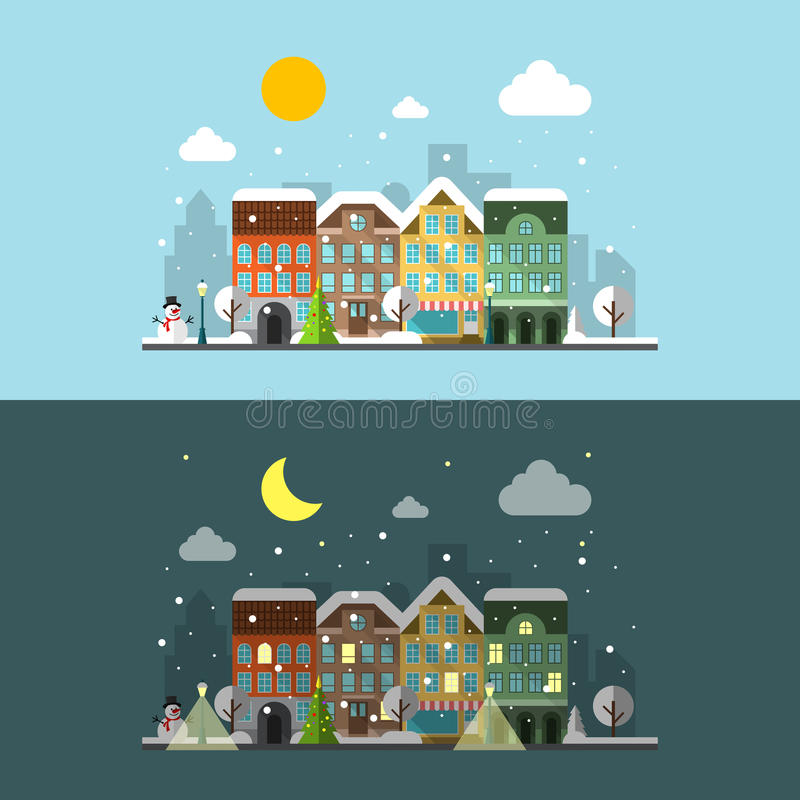 Vector winter city landscape in day and night. Street. Happy winter, cloud and snowman vector illustration