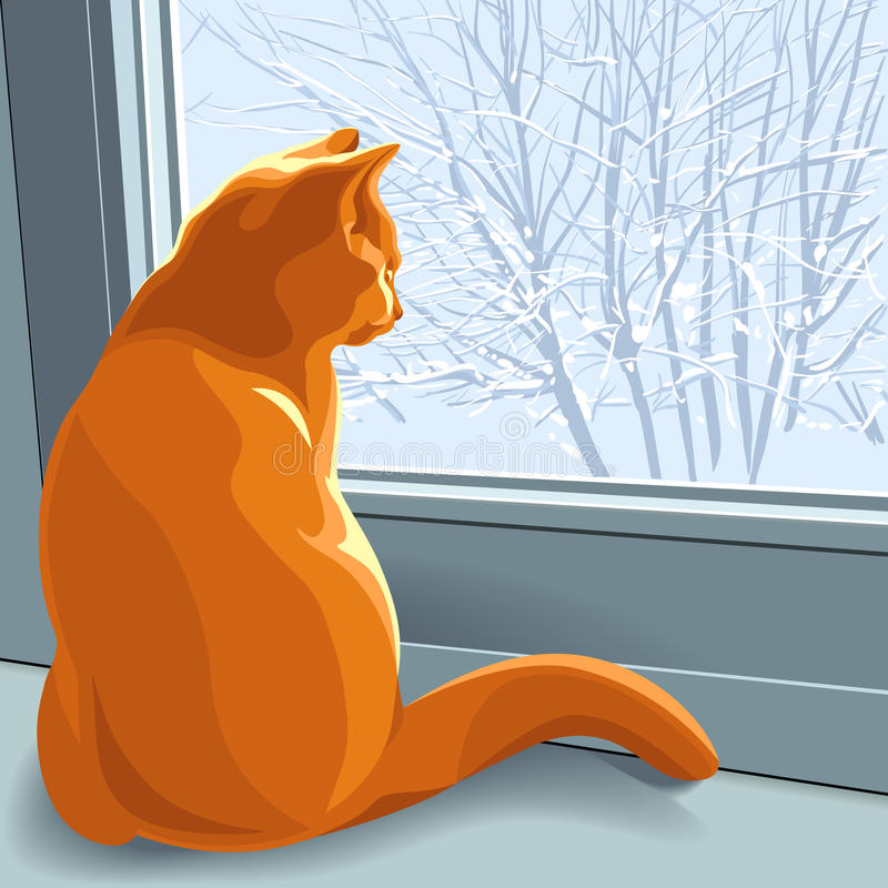Vector Winter dreams red cat royalty free stock photo