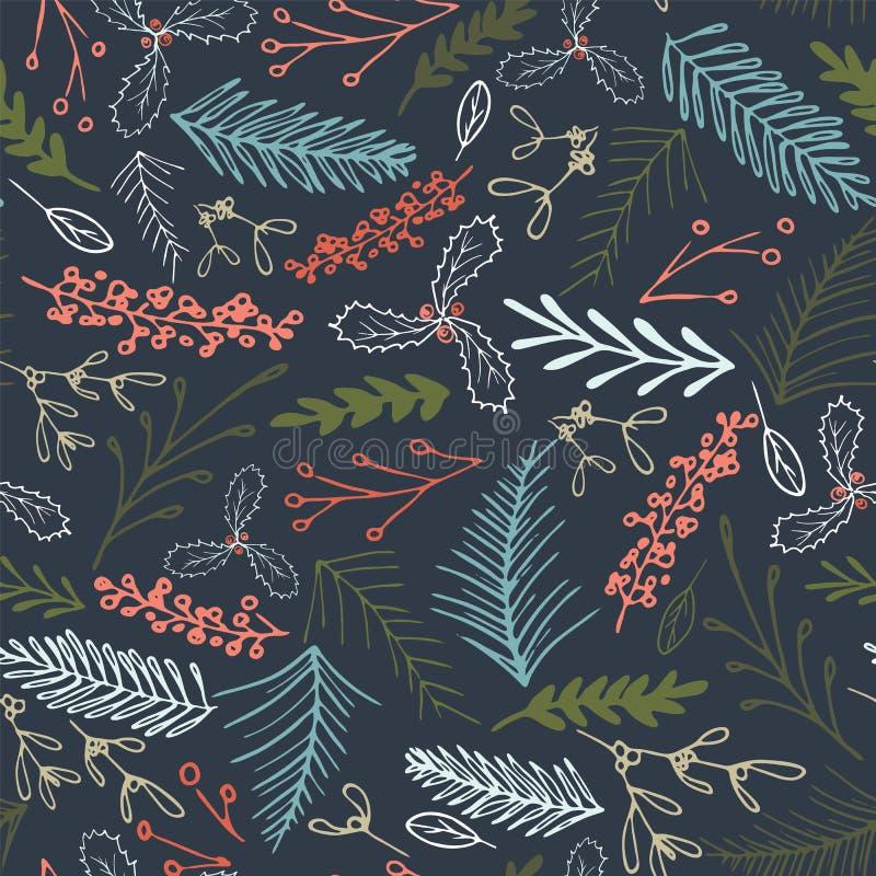 Vector winter foliage seamless pattern. Elegant retro doodle style holiday season print background design. Winter foliage seamless pattern. Elegant retro doodle royalty free stock image