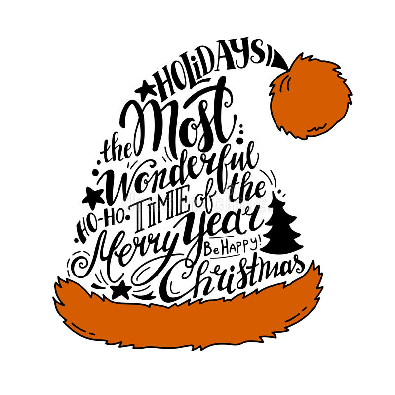 Vector Winter holidays illustration. Christmas silhouette Santa Hat with greeting lettering. royalty free illustration