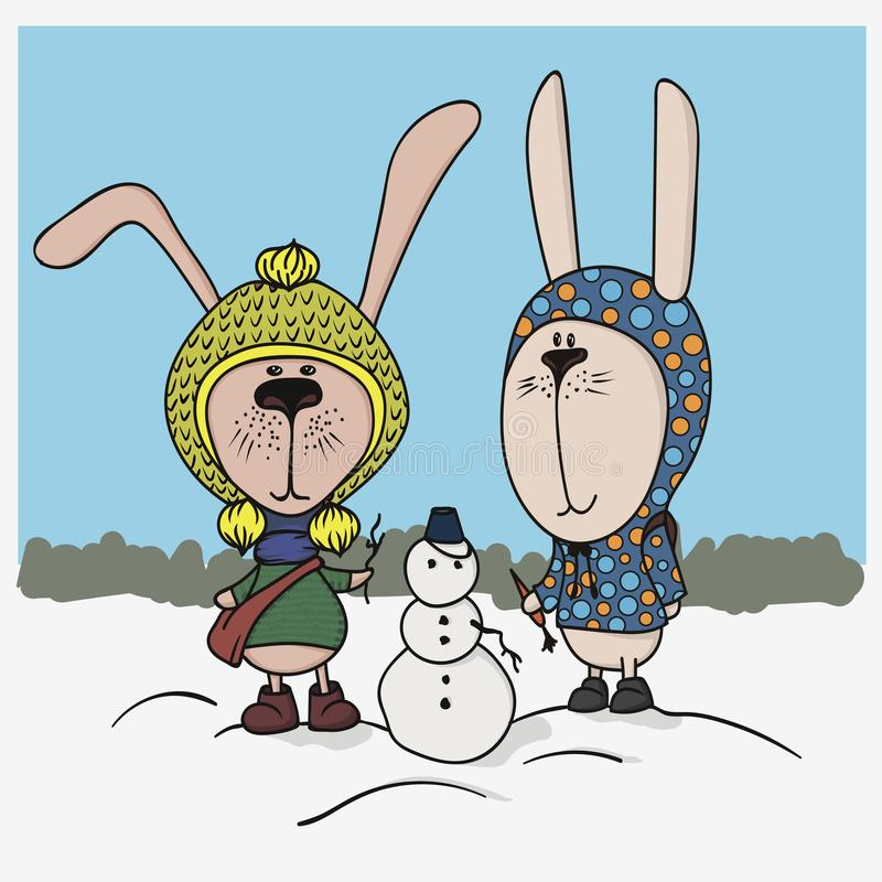 Winter illustration. Two cute bunnies with clothes in snowman stock illustration