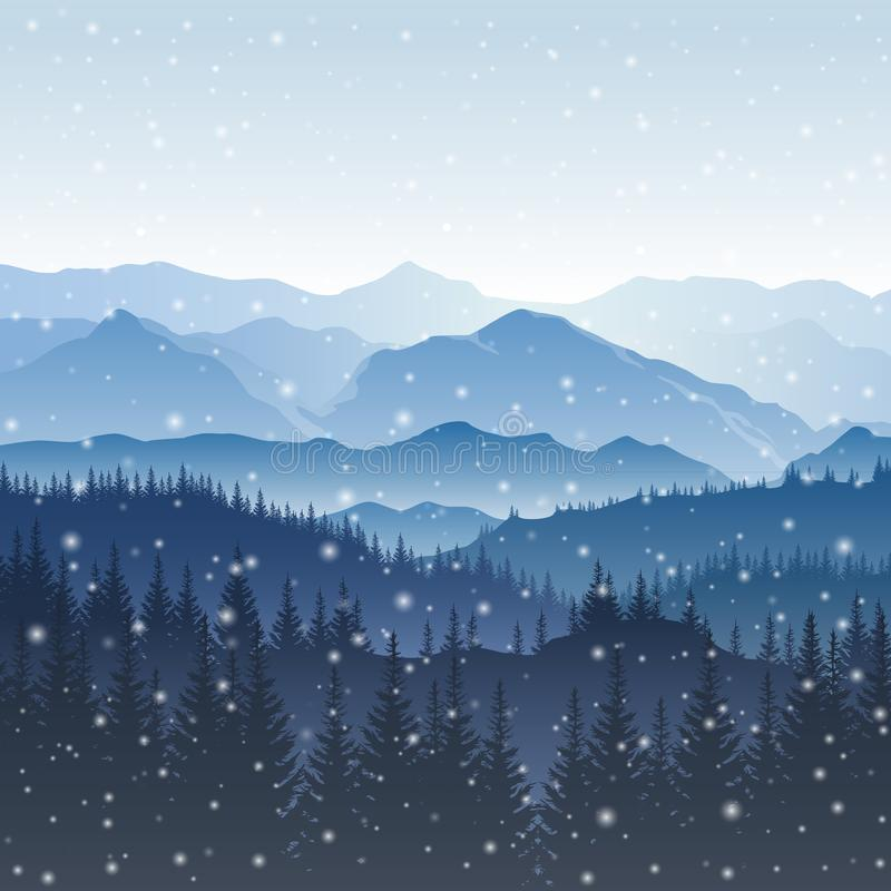 Vector winter landscape with blue silhouettes of mountains and t. Rees in the forest and falling snowflakes royalty free illustration