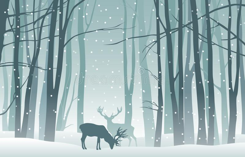 Vector winter landscape with blue silhouettes of trees in the forest and deer with falling snow vector illustration