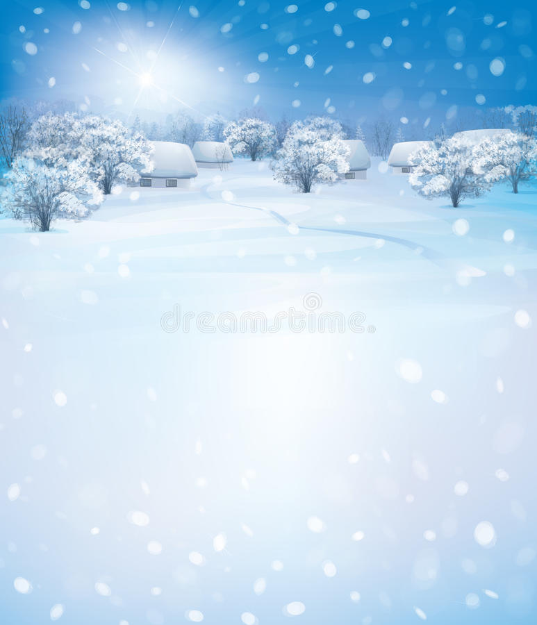 Vector winter landscape. Vector winter landscape with houses in forest vector illustration