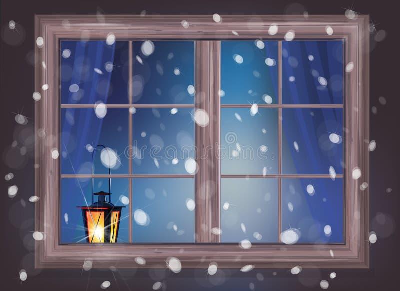Vector winter night scene. vector illustration