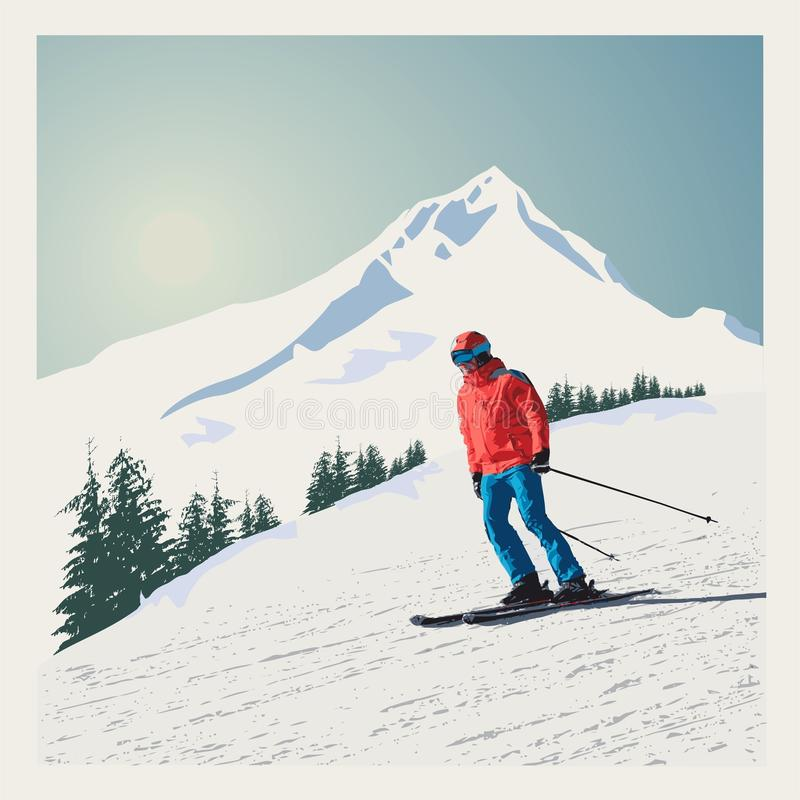 Vector winter poster, background. Advanced skier slides down the mountain.  royalty free illustration