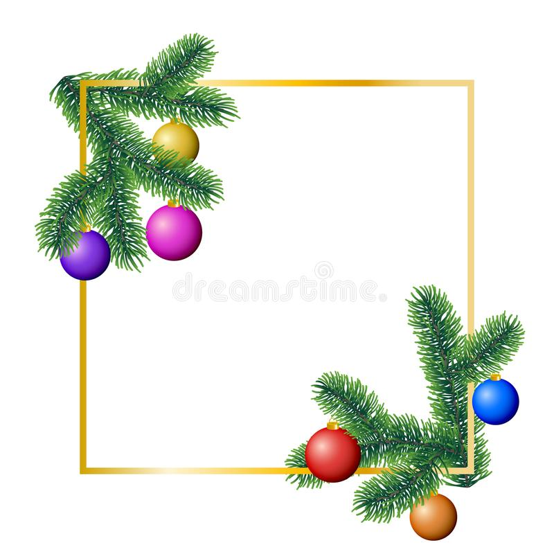 Vector winter rectangle frame with coniferous tree branches decorated with colorful christmas ornaments on white background royalty free illustration