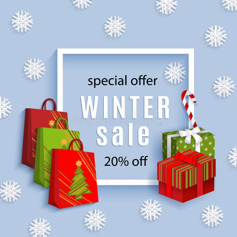 Vector winter sale poster template royalty free illustration