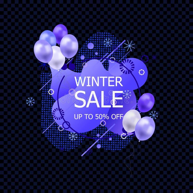 Vector Winter Sale Sign, Abstract Liquid Shapes, Geometric Pattern och Snowflakes med blå ballonger, Icon, Isolerad stock illustrationer