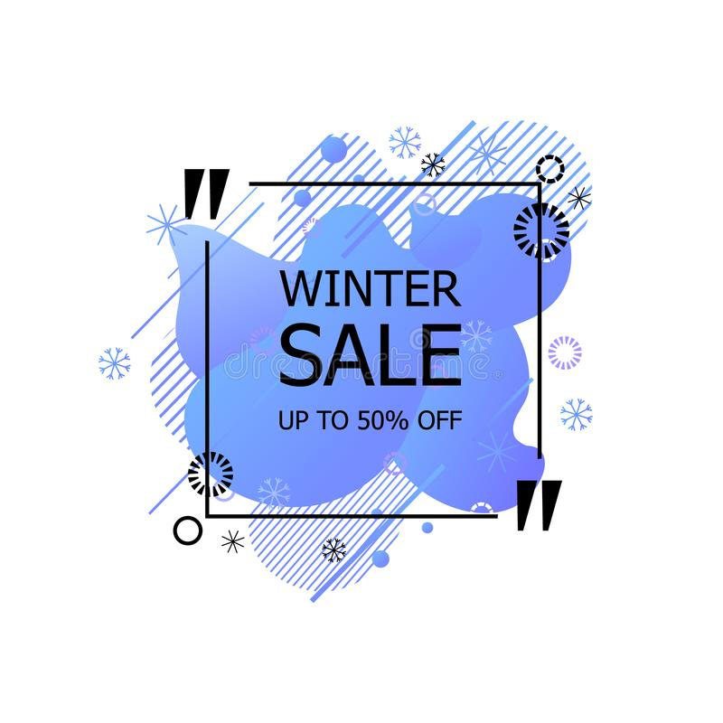 winter season sale banner template with snowflakes and