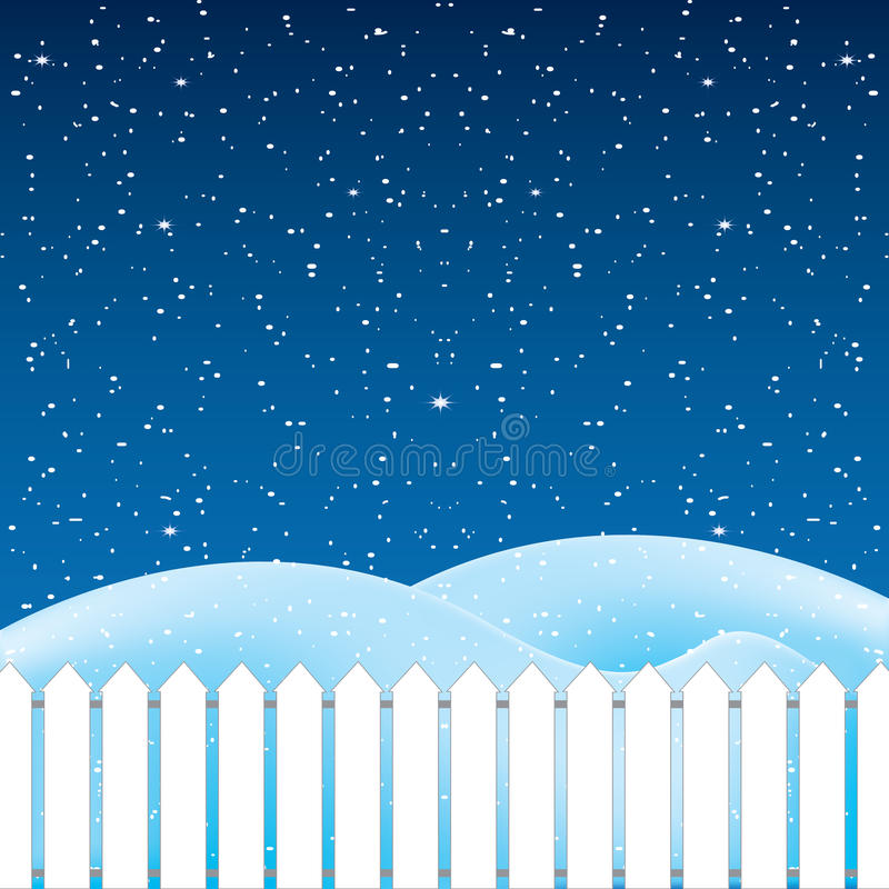 Vector of winter scene, white snow and blue sky. Vector royalty free illustration