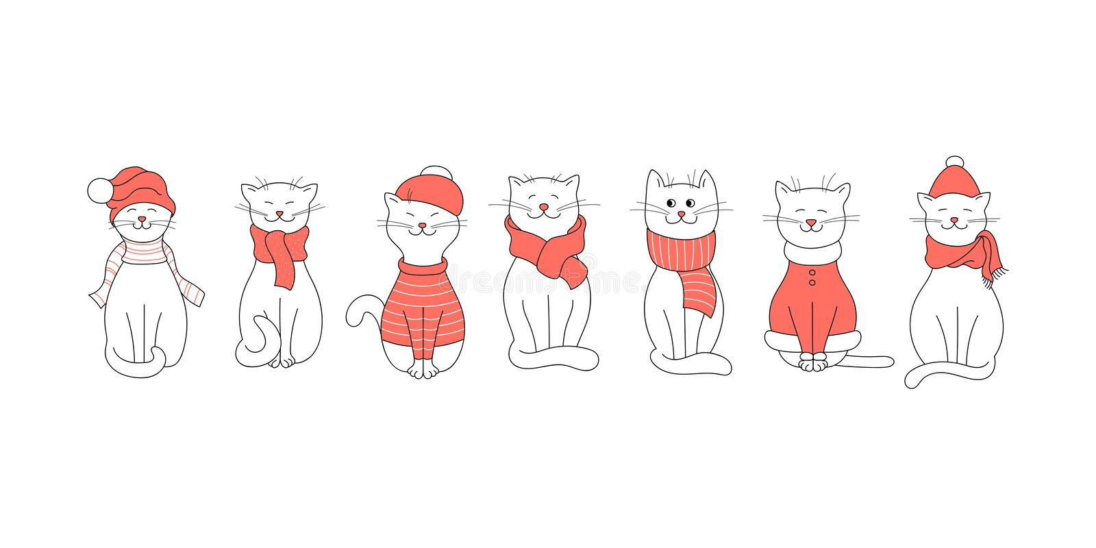 Vector winter set with cute cats in clothes. White cats in hats, scarves and sweaters on a white background. royalty free illustration