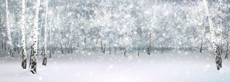 Vector winter snowy landscape. royalty free illustration