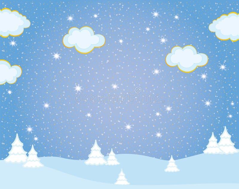 Vector Winter Landscape. Vector winter trees on snowy and sky background. Winter landscape vector illustration royalty free illustration