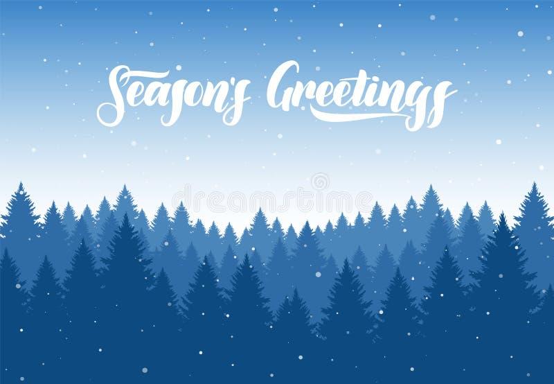 Vector Winter Weihnachts-Wald-Hintergrund mit Schneeflocken und Hand-letterin von Jahreszeit ` s Grüßen lizenzfreie abbildung