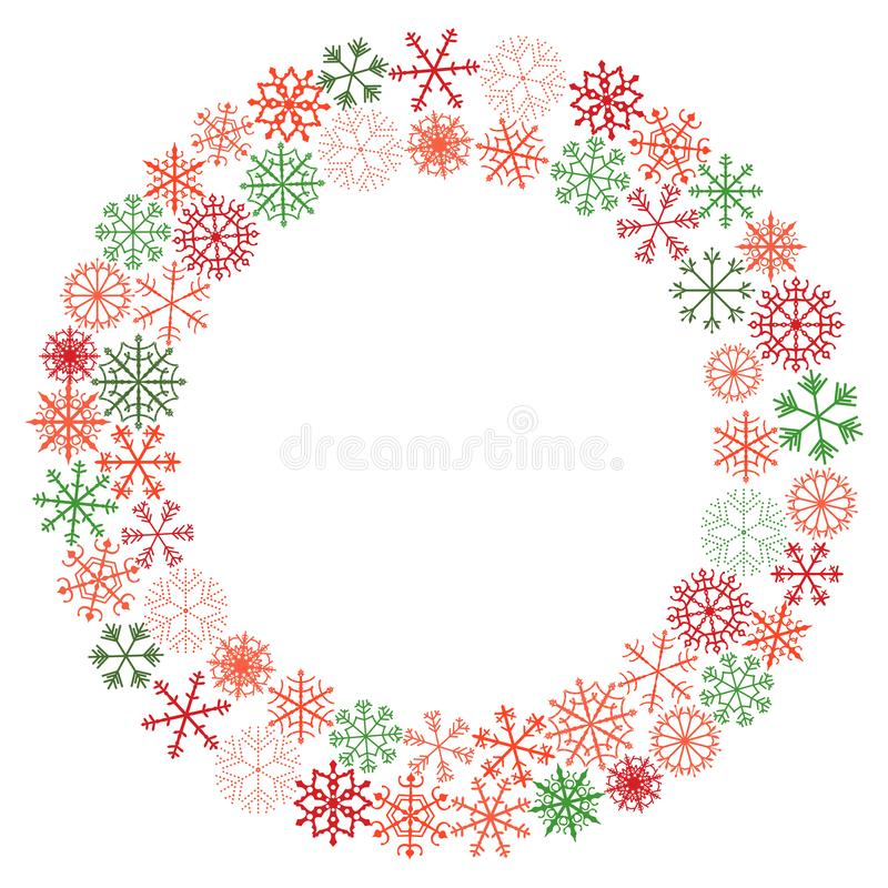 Vector winter wreath with snowflakes in red and green colors stock illustration