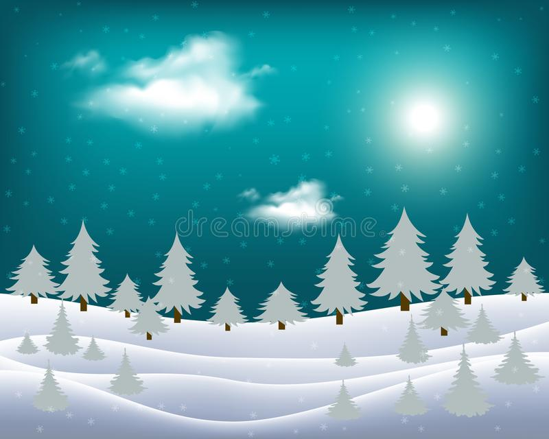 Vector wintry landscape with night sky and light moon.  stock illustration