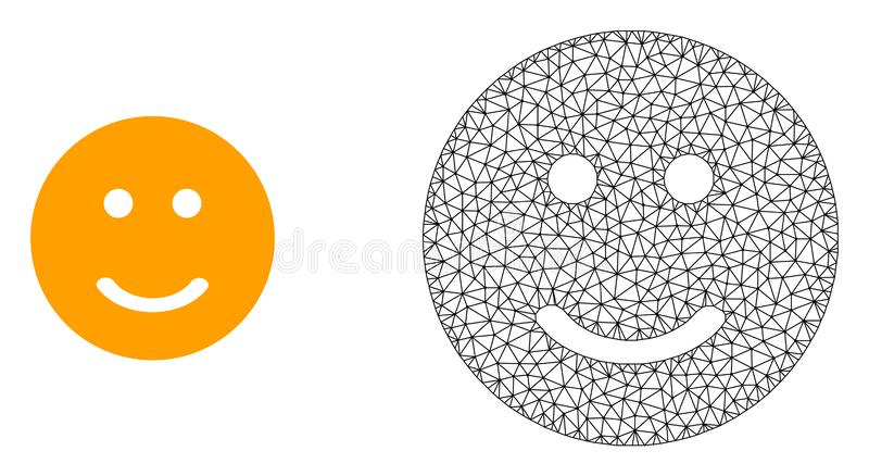 Vector Wire Frame Mesh Glad Smiley and Flat Icon. Polygonal mesh glad smiley and flat icon are isolated on a white background. Abstract black mesh lines vector illustration