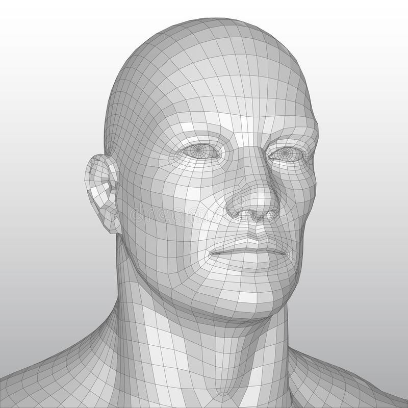 Vector wire frame polygonal human head royalty free illustration